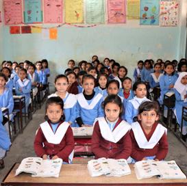 Students attending an English class